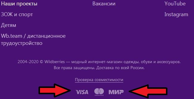 Логотипы Виза и Мастеркард на скрине из интернет-магазина