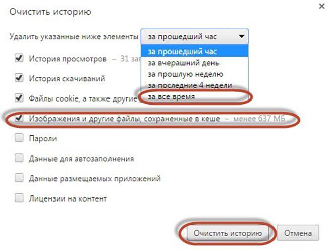 Определение периода, за который нужно удалить данные в Google Chrome