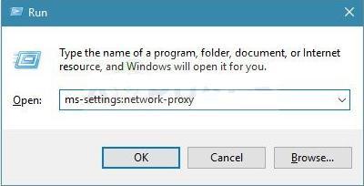 Быстрый переход к настройкам прокси в Windows 10