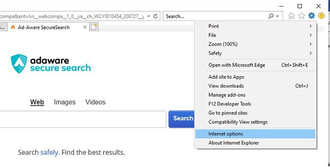Переход в свойства обозревателя Internet Explorer