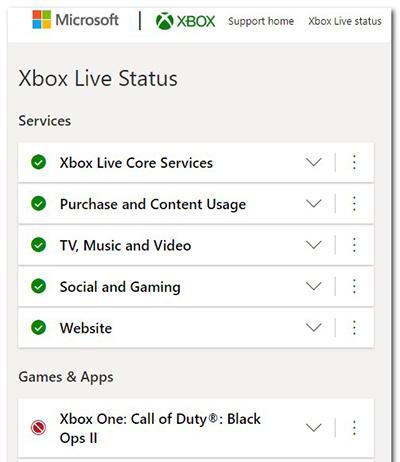 Отображение работы сервисов Xbox Live