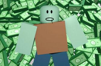Фигурка из Роблокс бежит на фоне из валюты robux