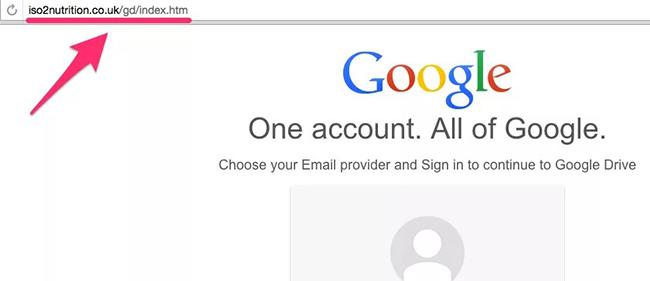 Пример фишинговой страницы с другим адресом