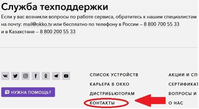 Контакты службы поддержки онлайн-кинотеатра
