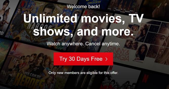Главная страница сервиса Netflix