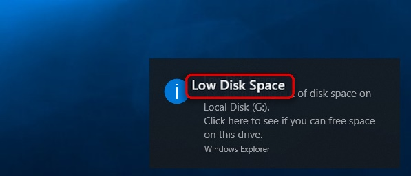 Сообщение мало места на диске
