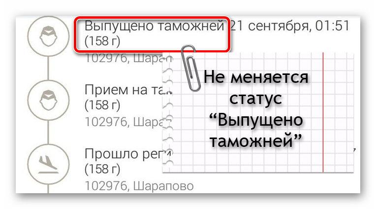 """Статус """"Выпущено таможней"""" при отслеживании посылки"""
