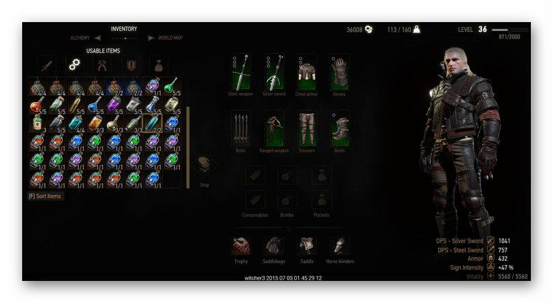 Сейв на оружие предметы и экипировку в The Witcher 3