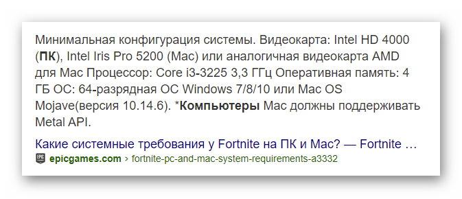 Системные требования для Fortnite